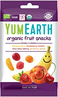 YumEarth - Pack de 6 bolsitas de 50g de Gominolas orgánicas con sabor a fruta