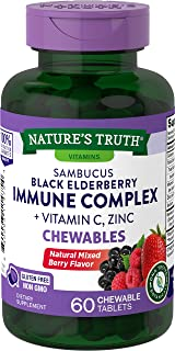 Elderberry Immune Support | 60 Chewable Tablets | with Vitamin C and Zinc | Non GMO and Gluten Free Complex | Mixed Berry ...