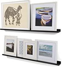 Wallniture Modern Floating Wall Ledge Shelf for Pictures and Frames Black 46 Inch Set of 2