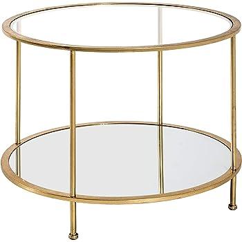 VASAGLE Beistelltisch rund, Glastisch mit goldenem