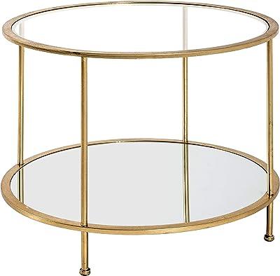Haku Möbel Table d'appoint, Verre Miroir, Or, Ø 60 x 45 cm