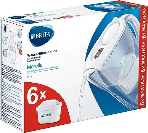 BRITAMarellablancaPack Ahorro – Jarra de Agua Filtrada con6 cartuchos MAXTRA+, Filtro de agua BRITA que reduce la...