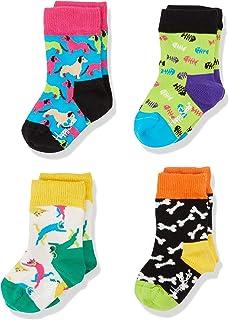 Happy Socks Kids Cats & Dogs Gift Box Calcetines (Pack de 4) para Bebés