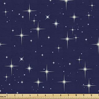 Ambesonne Space Fabric by The Yard, Night Sky Stars Romantic Cosmos Themed Image Dotted Background Constellation, Decorati...