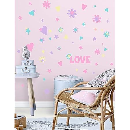 Kids Room Nursery Decor Love Art Stickers for Girls Housewares GF160 Girl Vinyl Decal Wall Art Flowers Decal,Sticker