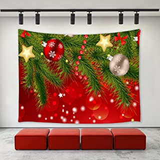 LBKT Christmas Day Tapestry Wall hanging Custom Xmas Christmas Tree Ornaments Balls Snowflakes Red Pattern Tapestries Wall Decor Art Home Decoration for Bedroom Living Room Dorm Decor
