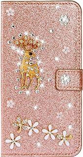 Cfrau Glitter Flip Case with Black Stylus for Samsung Galaxy M10/A10,Luxury Diamond 3D Crystal Flower Cute Deer Magnetic W...