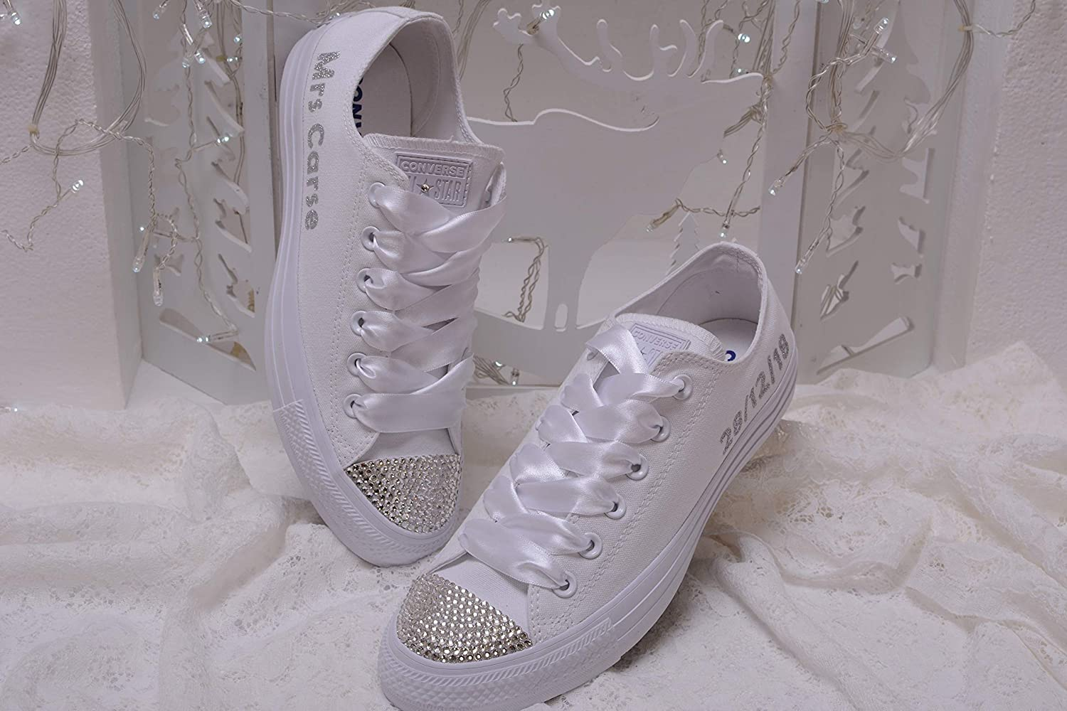 Bling White Monogrammed Wedding Personalized NEW Sales results No. 1 before selling ☆ Sneakers For Bride