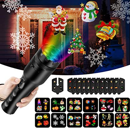 COMLIFE 2 合 1 圣诞投影仪灯,节日婚礼派对和室内/室外使用装饰灯 Black (Portable Size) HPL-HJ01-BLK