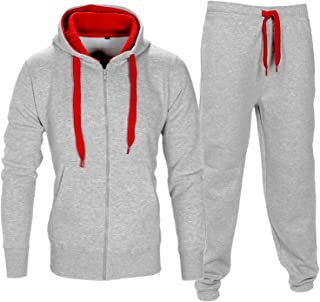 Men Tracksuit Set Fleece Hoodie Bottom Jogger Kids Contrast Cord Gym Active wear