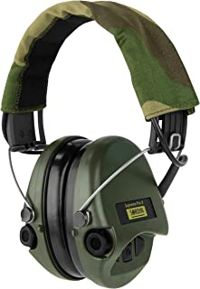 Sordin Supreme PRO X - Adjustable Active Safety Ear Muffs Hearing Protection - Camo Canvas Headband and Green Cups