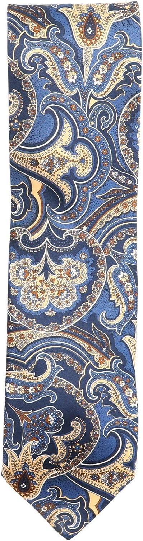 Italo Ferretti Men's Orange Blue Floral Paisley Tie Necktie