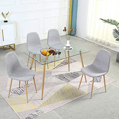 Dining Table Set for 4 Modern 5 Pieces Dining Room Set - Rectangle Tempered Glass Table and 4 Grey Fabric Dining Chairs - Kit