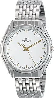 Titan Men's White Dial Color Stainless Steel Band Watch