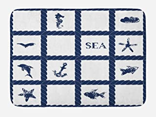 Ambesonne Navy Blue Bath Mat, Navy Yacht Vessel Rope Used as Frame with Starfish Fish and Anchor Image, Plush Bathroom Decor Mat with Non Slip Backing, 29.5