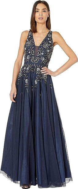 Beaded Mesh Long V-Neck Gown