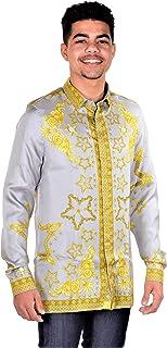 Collection Men's Silk Baroque Dress Shirt Midnight Blue