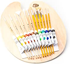 11.8 x 15.7 Yexpress Oval Shaped Wooden Palette,Large Scale Sketchpad with 10 Pcs Professional Painting Brushes Set