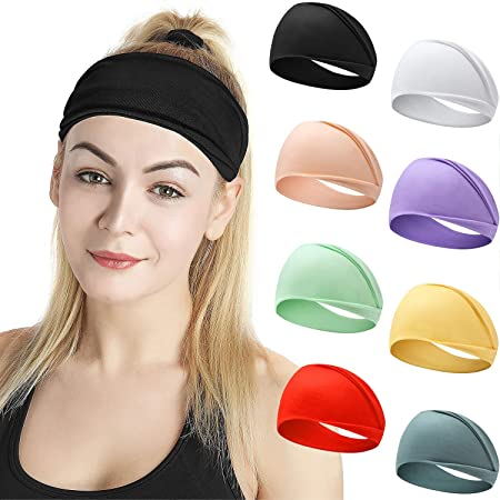 wpOP59NE Womens Headbands Solid Color Women Elastic Button Wide Hair Band Yoga Sports Headband Sweatband