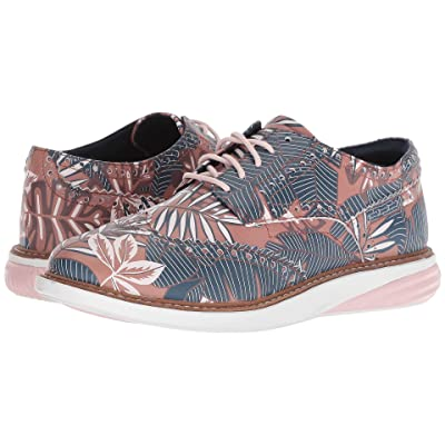 Cole Haan Grandevolution Wing Tip Oxford (Tropical Printed Leather/Optic White/Petal) Women