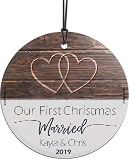 Our First Christmas Married Glass Ornament – Personalized Rustic Double Hearts Farmhouse – Suncatcher Hanging Print Christmas Tree Date Display 3.5