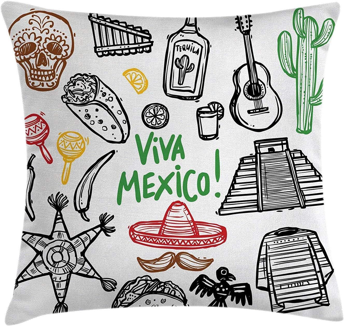 Kinhevao Cojines Decorativos Mexicanos, boceto de Objetos Latinos con Guitarra de Burritos, Botella de Tequila, piñata, Quetzal Coati, Almohada Decorativa Cuadrada