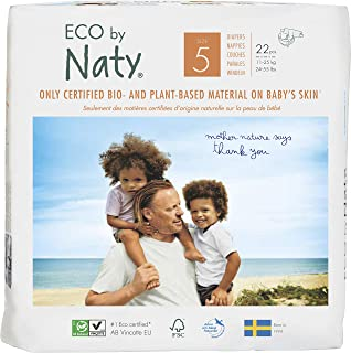 Eco by Naty Premium Disposable Baby Diapers for Sensitive Skin, Size 5 (Chemical, dioxin, fragrance free), Pack of 132