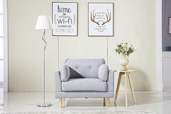 DIVANO ROMA FURNITURE Mid Century Modern Ultra Plush Linen Fabric Chair Color Dark Grey And Light Grey Light Grey