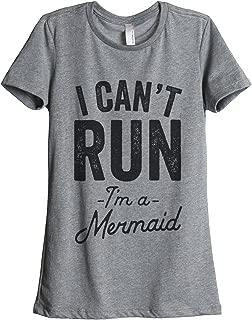 I Can't Run I'm A Mermaid Women's Fashion Relaxed T-Shirt Tee Heather Grey