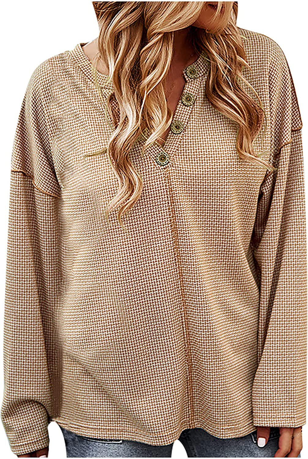 Plus Size Tops for Women V Neck Button Up Long Sleeve Knitting Elegant Fall Sweaters Soild Comfy Pullover
