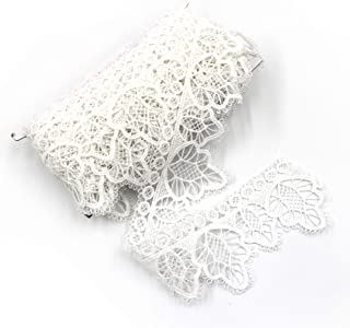 ELLAMAMA Vintage Style Embroidered Lace Trim Lace Ribbon 2'' x 5 Yards with Scalloped Edge,for DIY Craft,Sewing,Home Improvements,Wedding Decorations,Crewel&Quilting,Bridal Dress,etc