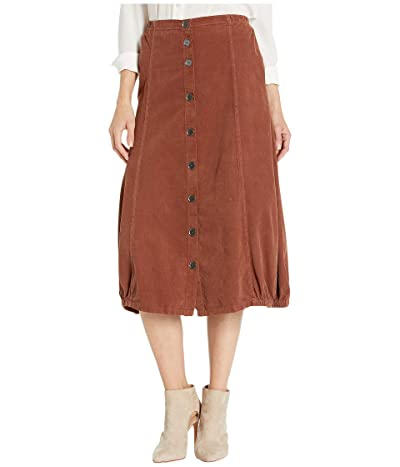 XCVI Wearables Exposed Buttons Skirt in Wale Cord (Sumac Pigment) Women