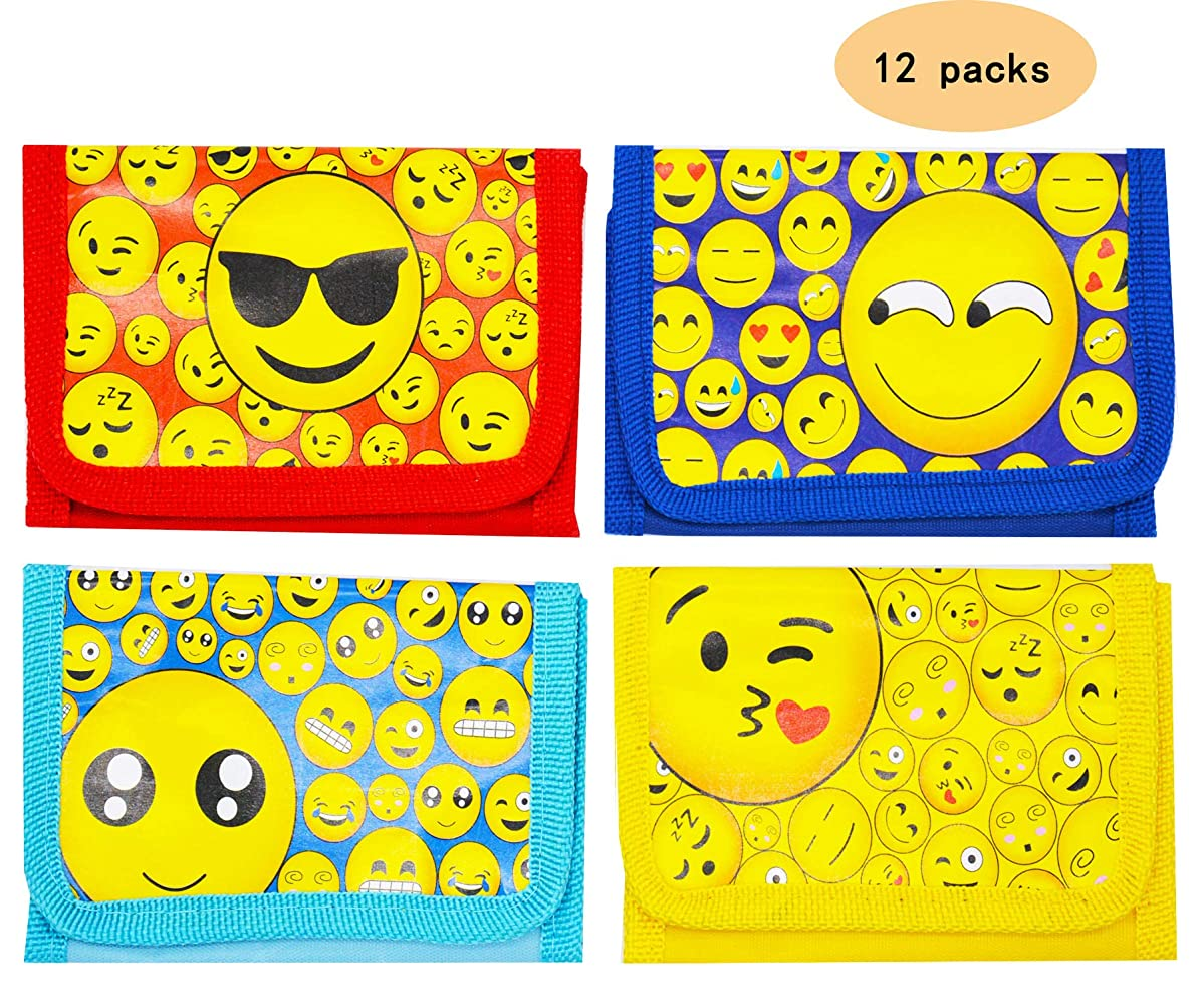 A full size wallet with zipper for kids teens boys and girls Party supplies School supplies Teacher Children Classroom Rewards Treasure Box Carnivals Giveaways Box Emoji themed party favors Pack of 12