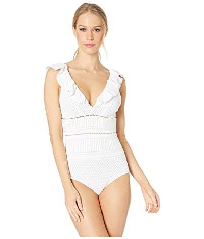 Jonathan Simkhai Lace Ruffle V-Neck One-Piece (White) Women
