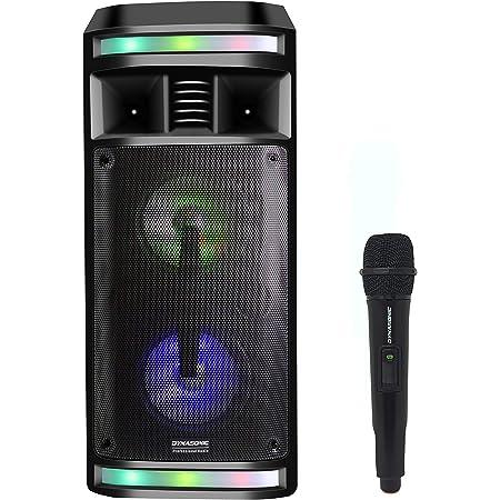 DYNASONIC - DY-65201 Haut-Parleur Bluetooth sans Fil | Système Audio Bluetooth, Haut-Parleur Portable, USB, lumières Multicolores, Radio FM, Microphone, Noir