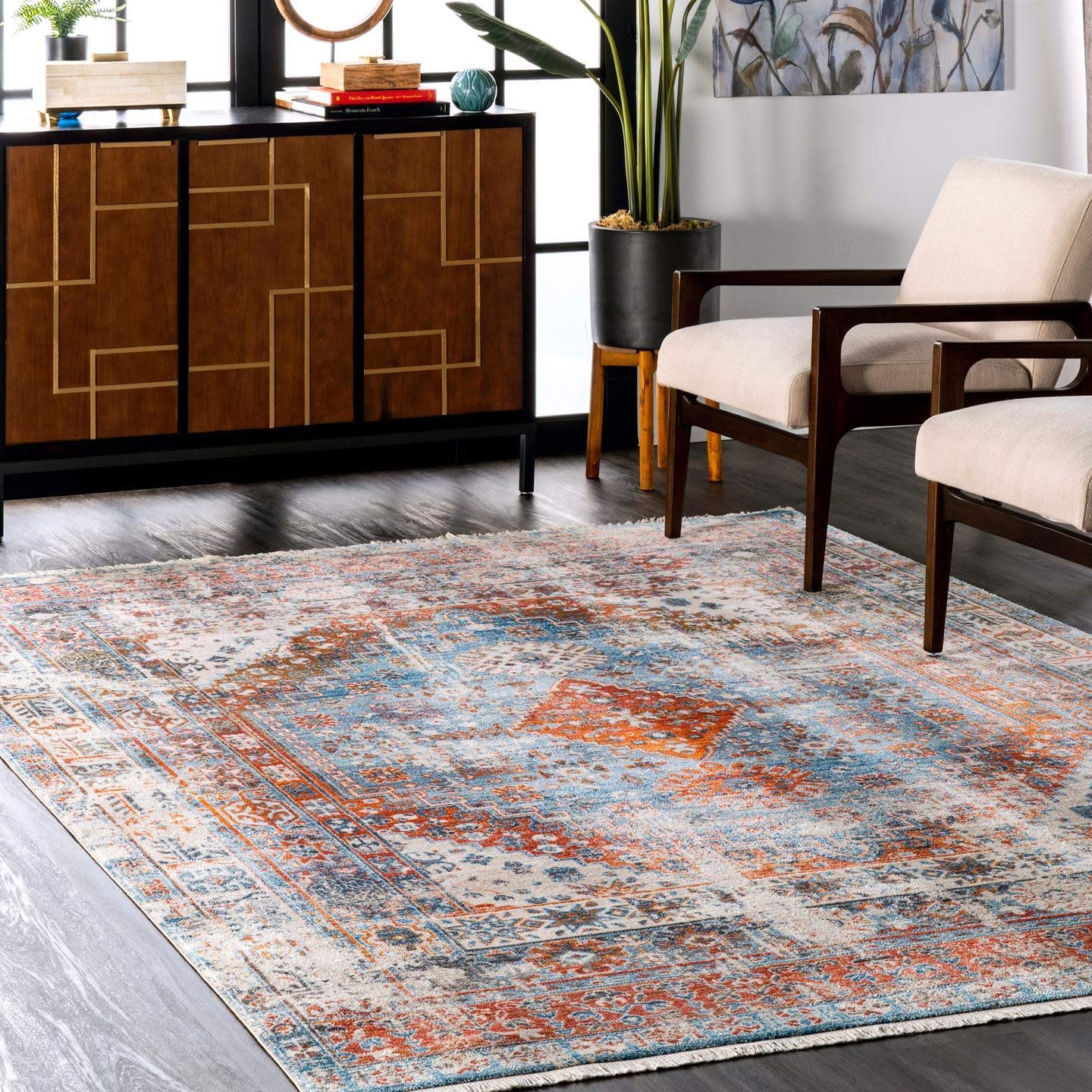 nuLOOM Sales of SALE items from new works Farley Max 53% OFF Medallion Fringe Area Blue Round 5' Rug