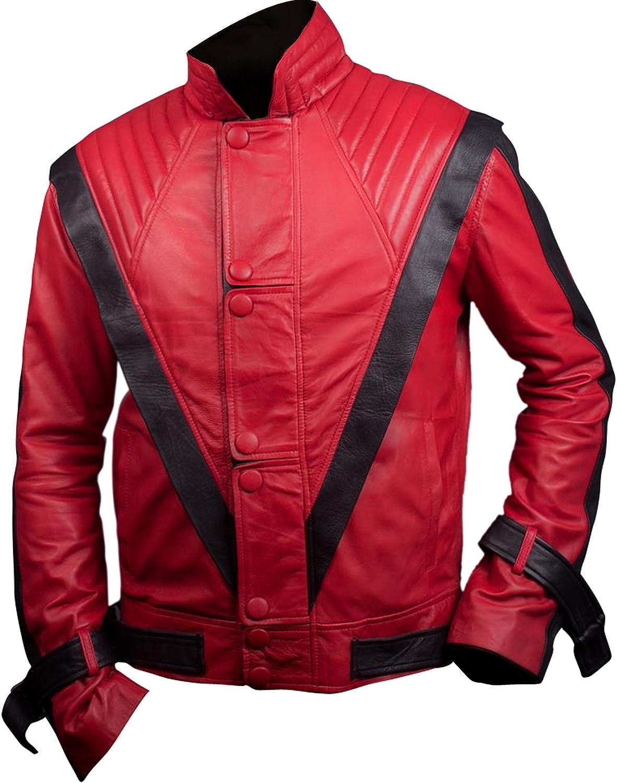 Flesh & Hide F&H Men's Red & Black Thriller Genuine Leather Jacket
