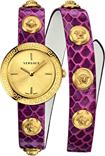 Versace Medusa Stud Icon Quartz Gold Dial Ladies Watch VERF00218