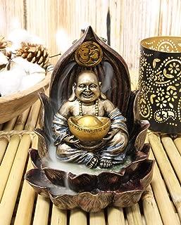Ebros Matreiya Happy Laughing Buddha Hotei Carrying Gold Ingot Seated On Ohm Lotus Padma Throne Backflow Cone Incense Burner Statue 6