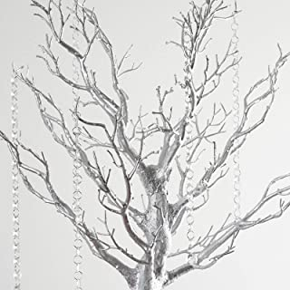 BalsaCircle 30 inch Tall Silver Glittered Manzanita Tree with Acrylic Garlands - Wedding Decorations Tabletop Decor Centerpieces Party Supplies