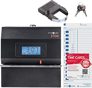 Pyramid Time Systems 3700 Heavy Duty Steel Time Clock and Document Stamp, Prints employee time & up to 14 pre-programmed messages, Made in the USA, Black