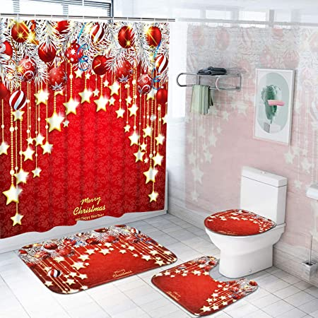 Red Toilet Lid Cover and Bath Mat Pknoclan 4Pcs Merry Christmas Shower Curtain Set with Non-Slip Rug Xmas Snowman Shower Curtains with 12 Hooks Christmas Santa Shower Curtain Sets for Bathroom