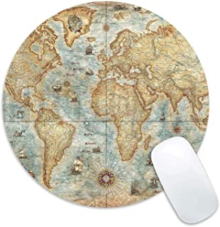 Mouse Pad Vintage World Map Print Mousepad Antique Desk Decorate Mouse Pads Round Non Slip Gaming Mouse Pad for Computer Laptop, Updated Version, 200 X 200 X 2MM
