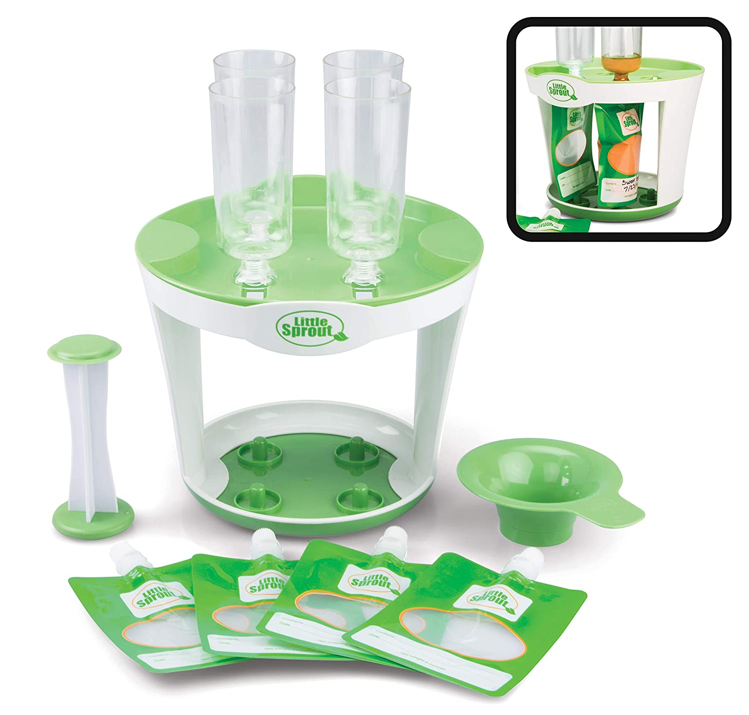 Baby Food Maker For Infants & Toddlers (11 Piece Set)- Make 4 6oz Food Squeeze Purees at Once w/ Fill Station, Pouches, Funnel, Tubes & Plunger- Dishwasher Safe & BPA Free for Homemade Semi-Solid Food