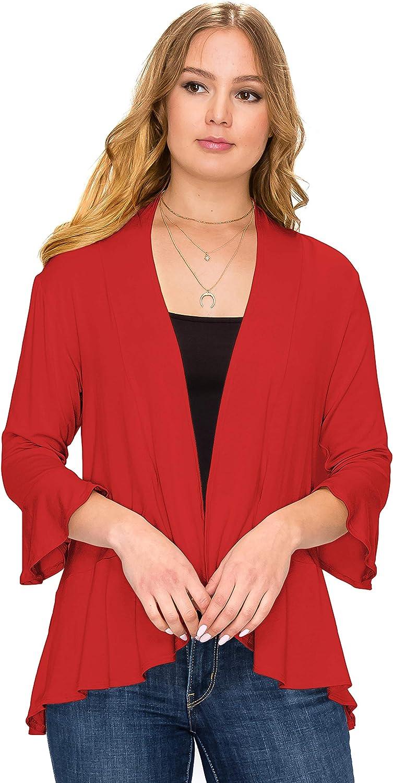 Simply Ravishing Women's Open Ruffle Hem 3/4 Bell Sleeve Cardigan (Size: S- 5X)