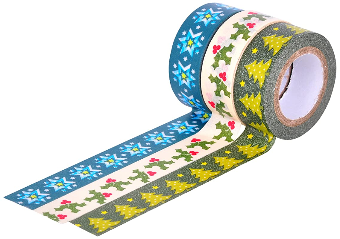 HIART Repositionable Washi Tape, Christmas Premium Value Collection, Set of 3