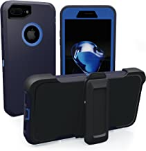 iPhone 7 Plus Case, iPhone 8 Plus, ToughBox [Armor Series] [Shockproof] [Navy Blue | Blue] for Apple iPhone 7/8 Plus Case [with Screen Protector] [Holster & Belt Clip] [Fits OtterBox Defender Clip]