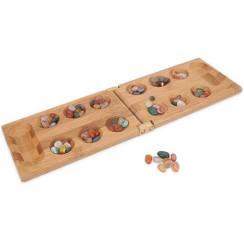 マンカラ 木製折りたたみ式 なダブルゲーム 子供のMancalaボードゲームの旅行ゲーム