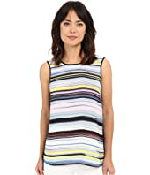 Vince Camuto - Sleeveless Mix Media Stripe Enlightment Top