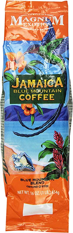 Jamaican Blue Mountain Coffee Blend Ground Medium Roast Fresh Strong Arabica Coffee Rich And Smooth Flavor Magnum Exotics 1 Lb Bag